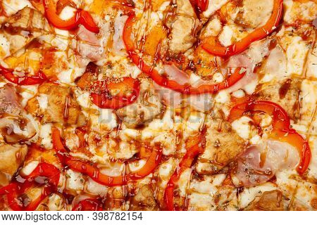 Texture Pizza With Bacon And Chicken Teriyaki Served On A Wooden Plate, Ingredients Signature Sauce,