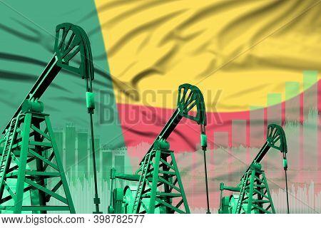 Benin Oil And Petrol Industry Concept, Industrial Illustration On Benin Flag Background. 3d Illustra
