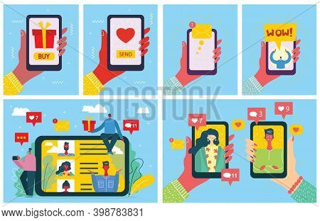 Share Your Love. Vector Valentine S Concept On Online Dating Application. Male And Female Hands Hold