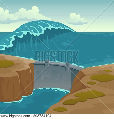 Sea Landscape With Dam And Large Wave. Protection Construction For Bay Or Lagoon Against Water Massi