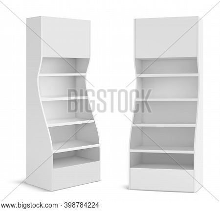 White Pos Display Stand For Supermarket Products. Store And Shop Blank Promotion Rack Mockup With Em