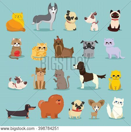 Vector Illustration Set Of Cute And Funny Cartoon Pet Characters. Different Breed Of Dogs And Cats
