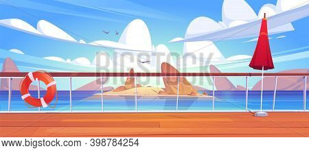 Seascape View From Cruise Ship Deck. Ocean Landscape With Island, Rocks In Water And Seagulls. Vecto