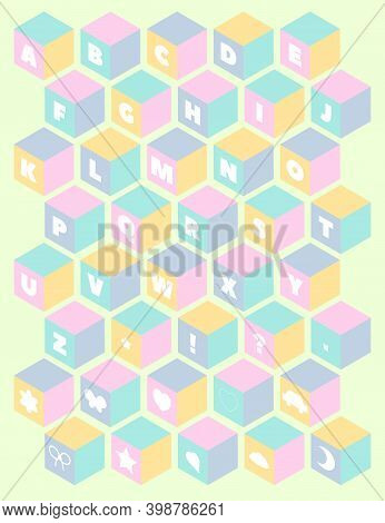 Baby Toy Building Blocks. Alphabet Blocks. Kids Alphabet And Numbers Block Set. 3d Isometric Cubes N