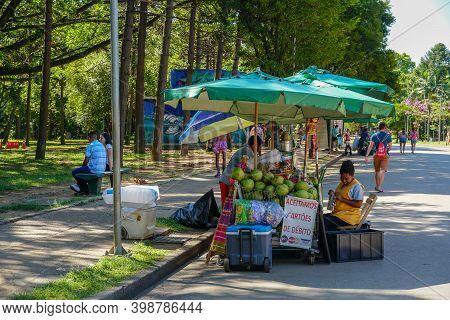 Little Street Vendor Selling Snacks And Drinks Inside Ibirapuera Park In Sao Paulo, Brazil. November