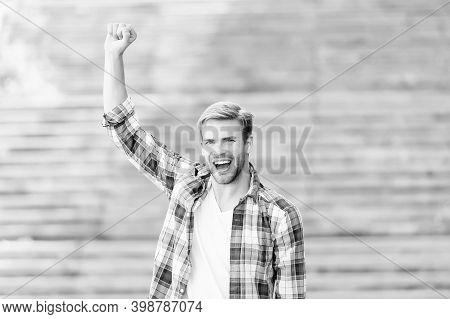 Being Winner Is Wonderful Thing. Happy Winner Celebrate Outdoors. Happy Man Make Winner Gesture. Cel