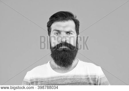 In The Lung Tension. Confidence And Charisma Concept. Portrait Of Bearded Stylish Man. Brutal Guy Wi