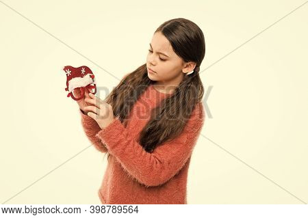 Kids Holidays Party With Santa. Little Child Hold Santa Head Glasses Mask. Annual Holidays. Christma