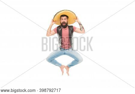 Mexican Party Concept. Celebrate Traditional Mexican Holiday. Guy Happy Cheerful Face Having Fun Dan