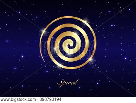 Gold Ancient Spiral, The Goddess Creative Powers Of The Divine Feminine, And The Never Ending Circle