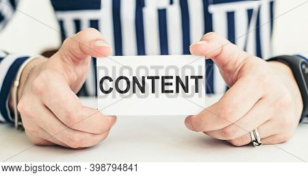 Woman Holding Card With Text Content, Social Networking Content Creation Concept.