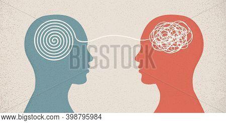Mental Disease. Psychological Problem. Psychologist Or Therapist Or Psychiatrist Who Treats Patients
