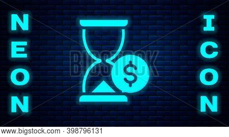 Glowing Neon Hourglass With Dollar Icon Isolated On Brick Wall Background. Money Time. Sandglass And