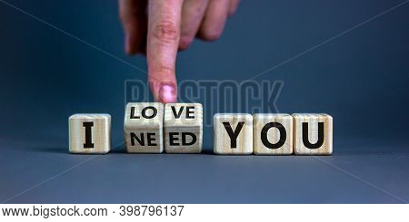 I Love You Symbol. Hand Turns Cubes And Changes The Expression 'i Need You' To 'i Love You'. Beautif