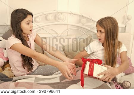 The Present Is Mine. Little Girls Fight Over Present Box. Giving Present. Birthday Present. Gift Exc