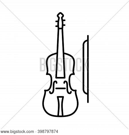 Violin Icon. Simple Outline Violin Vector Icon. On White Background.