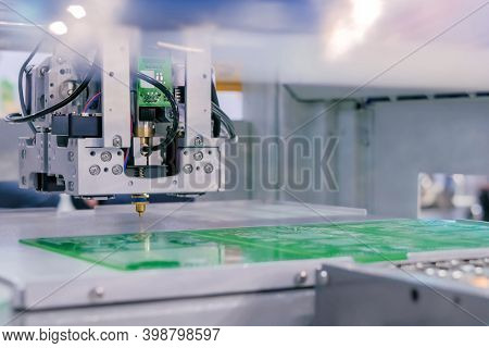 Assembly Of Computer Circuit Board - Automatic Smd Pick And Place Machine During Work At Factory, Ex