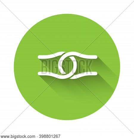 White Rope Tied In A Knot Icon Isolated With Long Shadow. Green Circle Button. Vector
