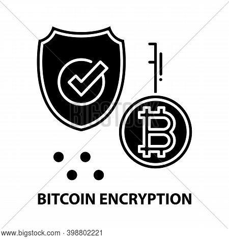 Bitcoin Encryption Icon, Black Vector Sign With Editable Strokes, Concept Illustration