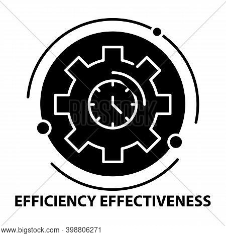 Efficiency And Effectiveness Icon, Black Vector Sign With Editable Strokes, Concept Illustration