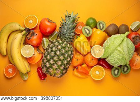 Fruit, Citrus, Vegetables With Vitamin C, Yellow Orange Background Top View. Vitamin C Natural Sourc