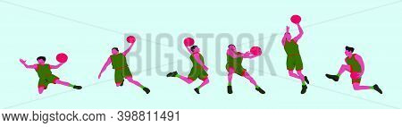 Set Of Slam Dunk Action Cartoon Icon Design Template With Various Models. Modern Vector Illustration