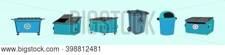Set Of Dumpster Unit Cartoon Icon Design Template With Various Models. Modern Vector Illustration Is