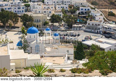 Ios, Greece - September 20, 2020: Chora Town Of Ios. Ios Island Is A Popular Tourist Destination In