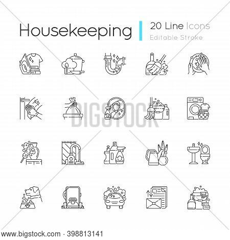Housekeeping Linear Icons Set. Keeping Home Clean And Neat. Different Housework, Domestic Chores Cus