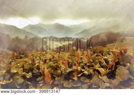 Scenery Mountain Landscape At Caucasus Mountains Colorful Painting.