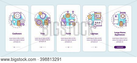Spending More For High Quality Products Onboarding Mobile App Page Screen With Concepts. Cookware, T