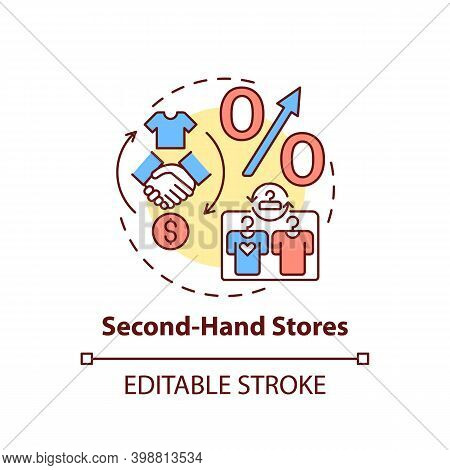 Second-hand Stores Concept Icon. Thrift Stores Idea Thin Line Illustration. Saving On Buying Clothin