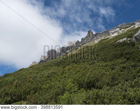 View On Limestone Moutain Peaks And Pine Trees At Stubai Hohenweg, Alpine Landscape Of Tirol Alps, A