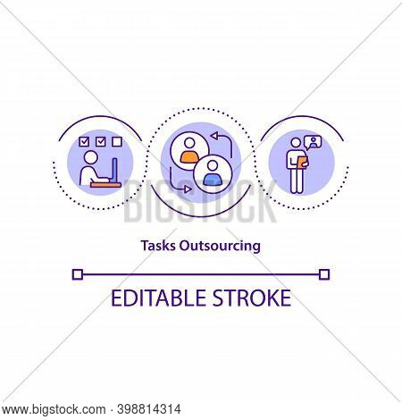 Tasks Outsourcing Concept Icon. Managing Outsourcing Relationships Idea Thin Line Illustration. Admi