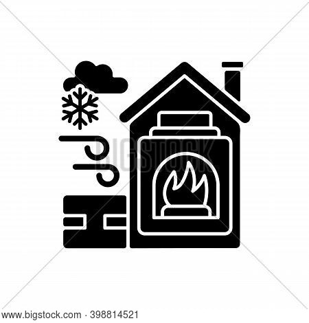 Warming Center Black Glyph Icon. Short Term Emergency Shelter That Operates When Temperatures Becomi