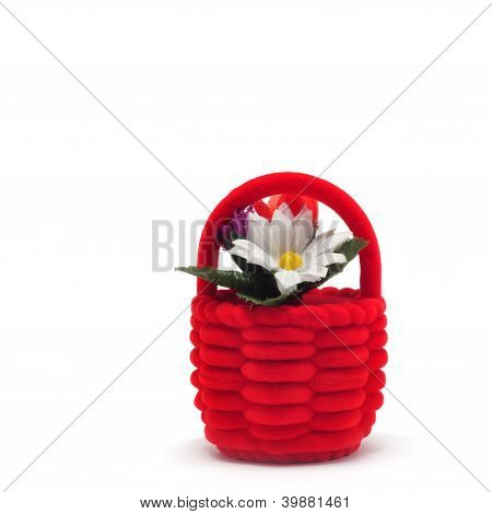 Gift Casket In The Form Of Red Basket With Flowers Isolated