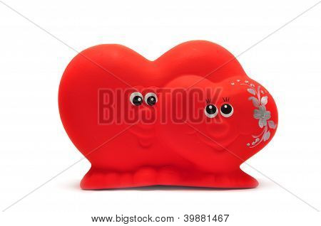Souvenir Red Hearts Isolated On A White Background