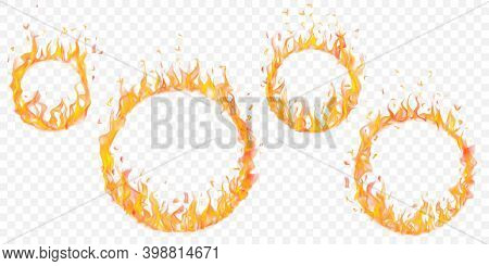 Set Of Burning Hoops In Different Sizes With Translucent Fire Flames On Transparent Background. For