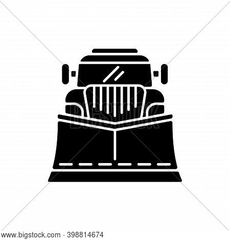 Snow Blades For Trucks Black Glyph Icon. Snow Plow Winter Service. Cleaning Streets From Winter Weat