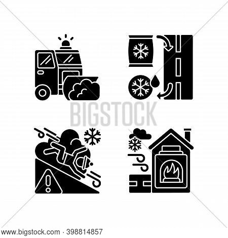 Ice Clearing Services Black Glyph Icons Set On White Space. Clearing Roads From Ice. Avalanche Warni