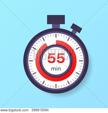 The 55 Minutes Timer. Stopwatch Icon In Flat Style.