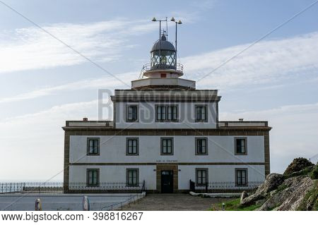 Fisterra, Galicia / Spain - 27 November 2020: Cape Finisterre Lighthouse On The Western Coast Of Gal