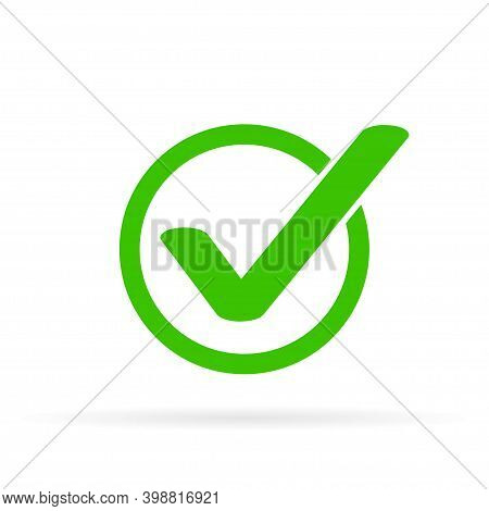 Green Tick Icon Vector Symbol, Checkmark Isolated On White Background, Checked Icon Or Correct Choic