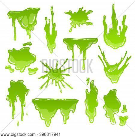 Green Slimes. Goo Blob Splashes, Toxic Dripping Mucus. Slimy Splodge And Drops, Liquid Borders. Cart