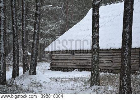 Wooden Old House With Snow On The Roof With Small Window In The Forest Near Hight Christmas Trees In