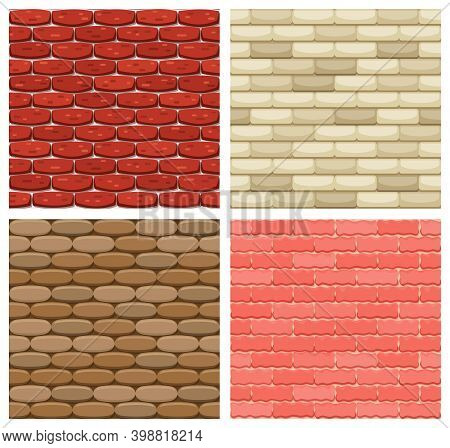 Set Of Vector Brick Wall Seamless Backgrounds. Realistic Color Brick Texture. Decorative Patterns Fo