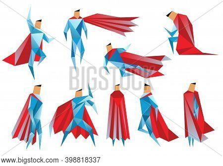 Superheros Low Poly. Vector Polygonal Illustration Of Super Heros, Origami Style Icon, Modern Cartoo