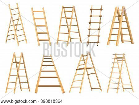 Set Of Wooden Ladders Household Tool. Step Ladders For Domestic And Construction Needs. Isolated Vec
