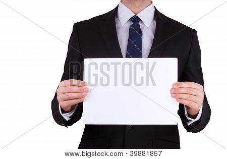 business man holding blank note card