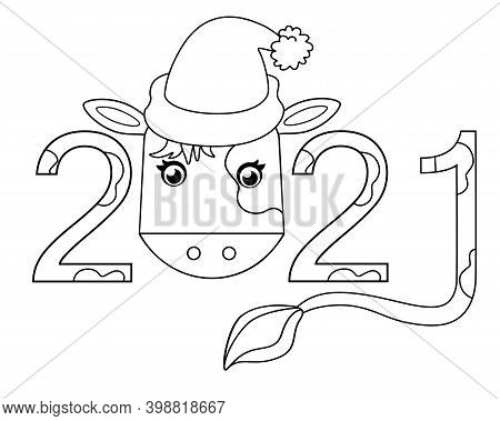 2021 - Year Of The Bull - Vector Linear Illustration For Coloring. Outline. The Year And The Calf In